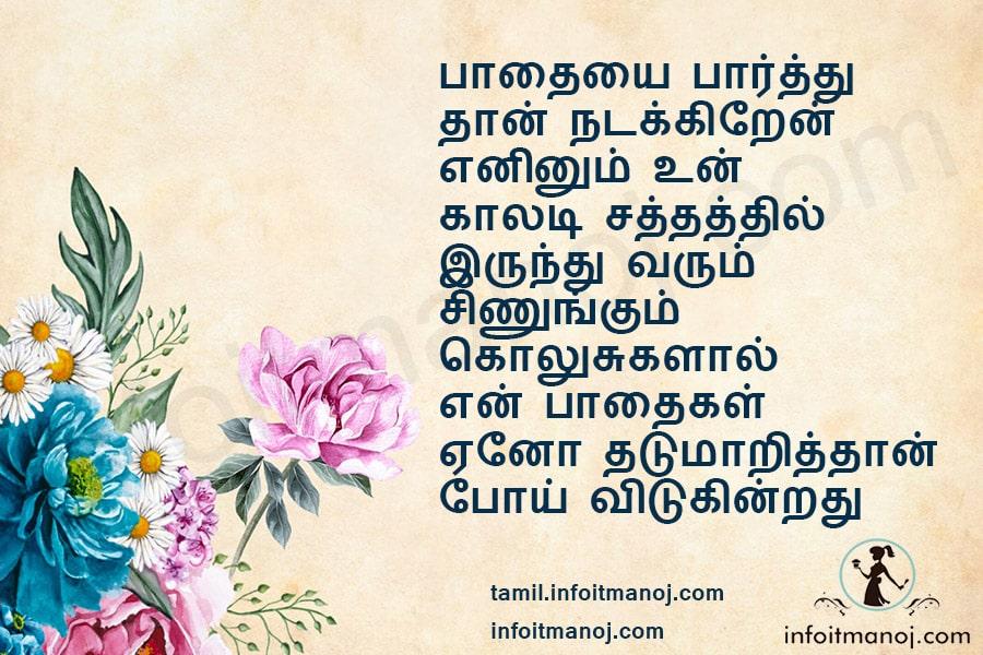 paathaiyai paarthu thaan nadakiren eninum un kaladi sathathil irunthu varum sinungum kolusugalaal en paathaigal eno maarithaan poi vidukindrathu